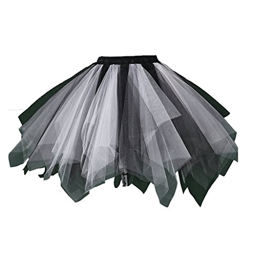 Edwardian Costumes Amazon (DYS Women's 1950s Knee Length Petticoat Slips Tulle Ballet Bubble Tutu Skirt Black/White L/XL)