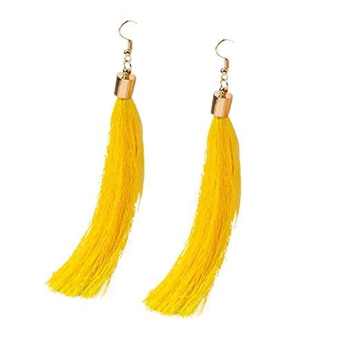 DZT1968 Women 12cm Elegant Bohemian Long Tassel Fringe Dangle Earrings (Plastic Yellow Earrings)