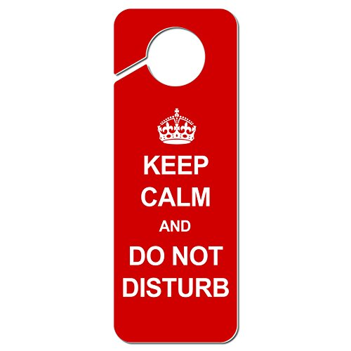 Graphics and More Keep Calm and Do Not Disturb Red Plastic Door Knob Hanger Sign ()