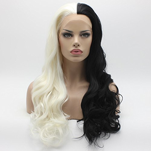 Lushy Wavy Long 24inch Half White Half Black Mix Synthetic Lace Front Wig