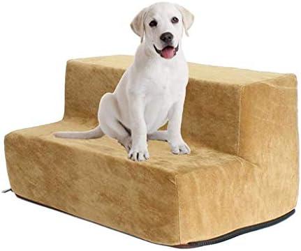 Rclt Escaleras Desmontables for Mascotas Pasos Escalera de 2 Pisos for Perros Piel de Ciervo Terciopelo Escaleras Confort Escaleras for Gatos y Perros (Color : Khaki): Amazon.es: Hogar