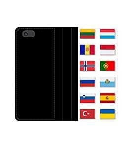 Banderas Set 2 resma caount europeo, funda tipo libro con tarjeteros y compartimento para billetes iPhone 4 4S 5 5S 6 6S/Samsung S3 S4 S5