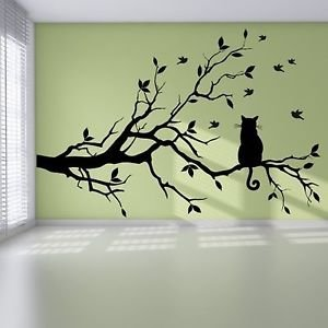 Iconic Stickers - Cat Branch Birds Tree Modern Pretty Bedroom Wall ...