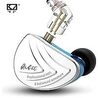 KZ AS16 HiFi Stéréo 8 Équilibré Armature Pilote Moniteur Écouteurs dans L'oreille Casque Écouteurs ( Bleu sans Micro)