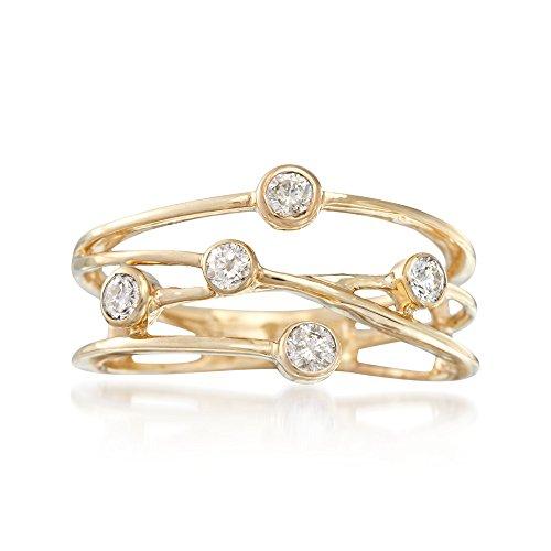 Ross-Simons 0.25 ct. t.w. Bezel-Set Diamond Crisscross Ring in 14kt Yellow Gold ()