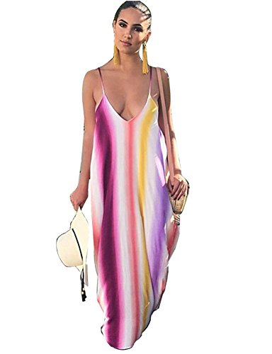Pockets Spaghetti Dye Dress Loose Tie Women's with Strap Dreamparis Long Purple Maxi 4vaWqRnWUg