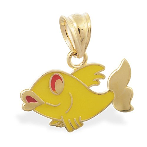 MsPiercing 14K Yellow Gold Yellow Enameled Fish Pendant