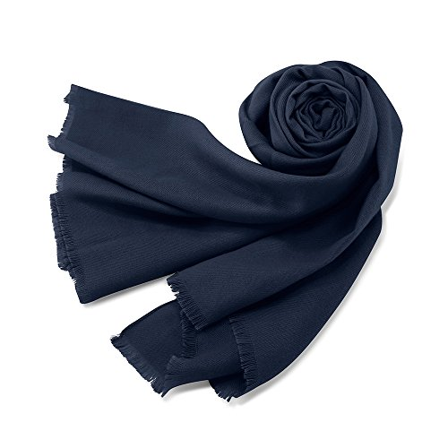 Oct17 Women Large Scarf Soft Cashmere Feel Pashmina warm Shawls Wraps Winter Fall Scarfs Solid Color Light Weight Scarves  Dark Blue