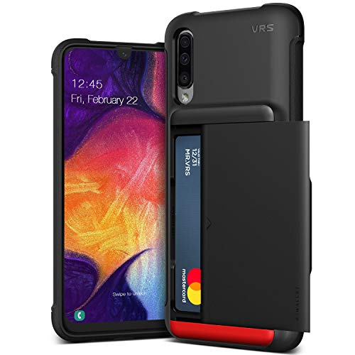 Galaxy A50 Case, VRS Design Slim Premium Wallet Case Card Holder Shockproof [Damda Glide Shield] [Matte Black] Reinforced Corners Compatible with Galaxy A50 6.4 inch (2019)