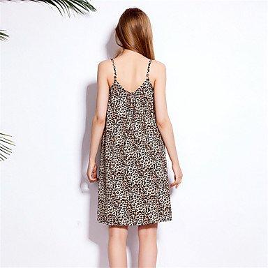 PU&PU Robe Aux femmes Ample simple,Motif Animal A Bretelles Au dessus du genou Coton , brown , xl