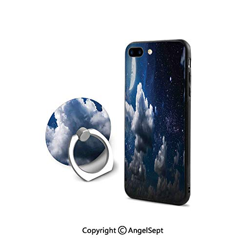 iPhone 8 Case/iPhone 7 Case with Ring Holder Kickstand,Celestial Solar Night Scene Stars Moon and Clouds Heaven Place in Cosmos Theme,Retail Packaging,Dark Blue White ()