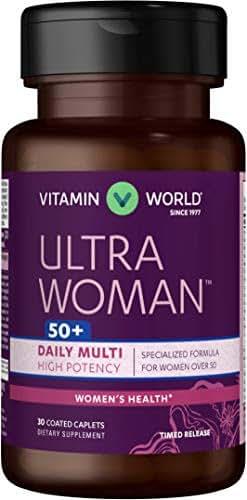 Vitamin World Ultra Woman 50 Plus Daily Multivitamin   Feat. Biotin, Vitamins B, C, D, E, Calcium, Zinc, Selenium, Beta-Carotene   Health & Wellness Multi-Supplement for Women Over 50, 30 Caplets