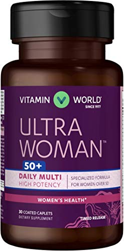 Vitamin World Ultra Woman 50 Plus Daily Multivitamins 30 Caplets, Gluten Free, Timed Release, Coated