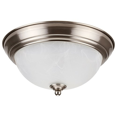 - LEONLITE Dimmable 11-Inch LED Flush Mount Ceiling Light Fixture, 15W (80W Equivalent), 3000K Warm White, Alabaster Glass Shade, 1050 Lumens, ETL Listed, 5 Years Warranty, Satin Nickel