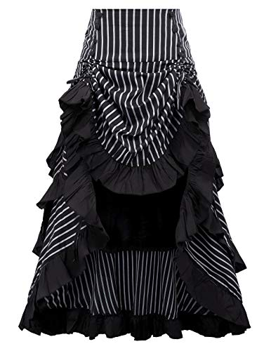 Black Victorian Renaissance Bustle Skirt Steampunk Pirate Skirt BP345-2 S from Belle Poque