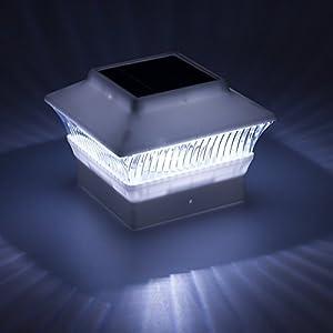 """2 Pack Solar Powered Fit 4"""" x 4"""" LED Post Cap Light (White)"""