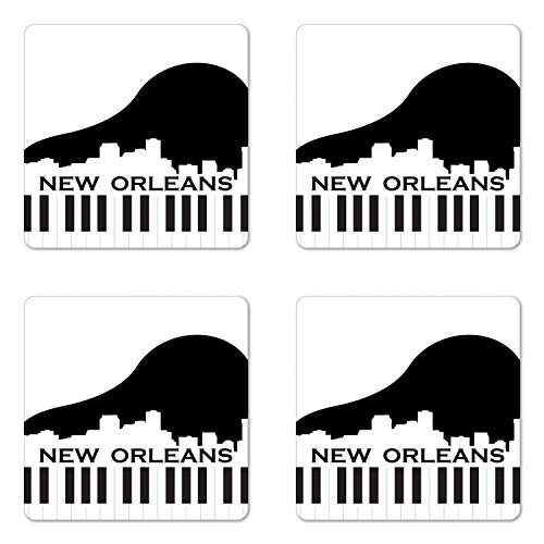 Ambesonne New Orleans Coaster Set of 4, City Silhouette on a Piano Jazz Capital of the United States of America, Square Hardboard Gloss Coasters for Drinks, Black and White