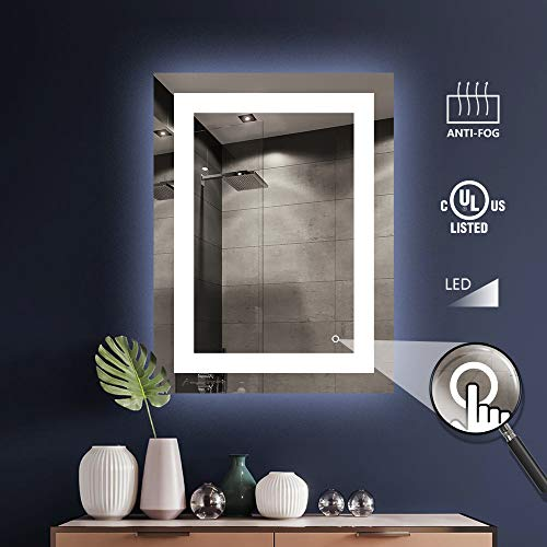 KIVA RHYME Bathroom LED Lighted Backlit Mirror, Anti-Fog Bathroom Makeup Vanity Lighting Mirror with Touch Button and Dimmer Light-Hilton24 WX32 H (Best Makeup Boxes Canada)