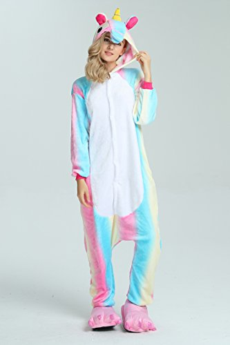 Taiyi Homewear Childrens Unicorn Plush One Piece Onesie Cosplay Animal Costume (12Yrs(height 59''-63''/150cm-160cm), Rainbow Flying Horse) by Taiyi (Image #2)