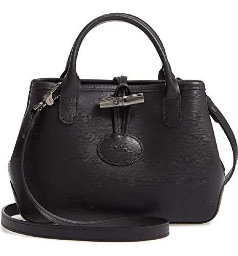 Longchamp Women's Mini Roseau Black Leather Crossbody Messenger Handbag