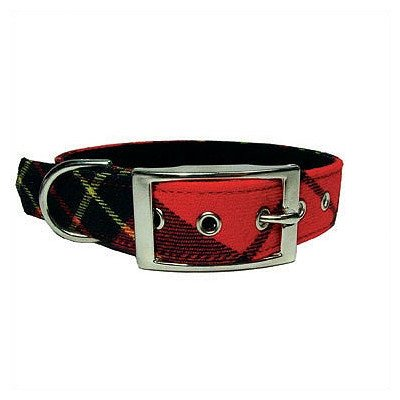 Red Plaid Tiny Dog Collar Size: XX-Small