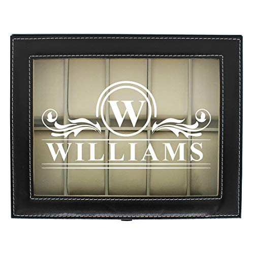 Engraved Watch Box for Men - Personalized Gifts for Him - Custom Husband Boyfriend Gift (Black) (Personalizes Box Watch)