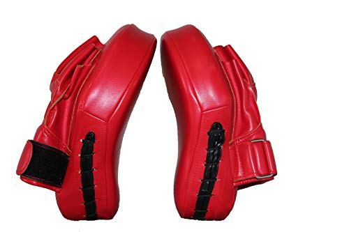 Sports Boxing Curved Focus Leather Focus Boxing Gloves Mitts for Training Pair for Women and Men MMA, Kickboxing, Muay Thai Sparring (Red)