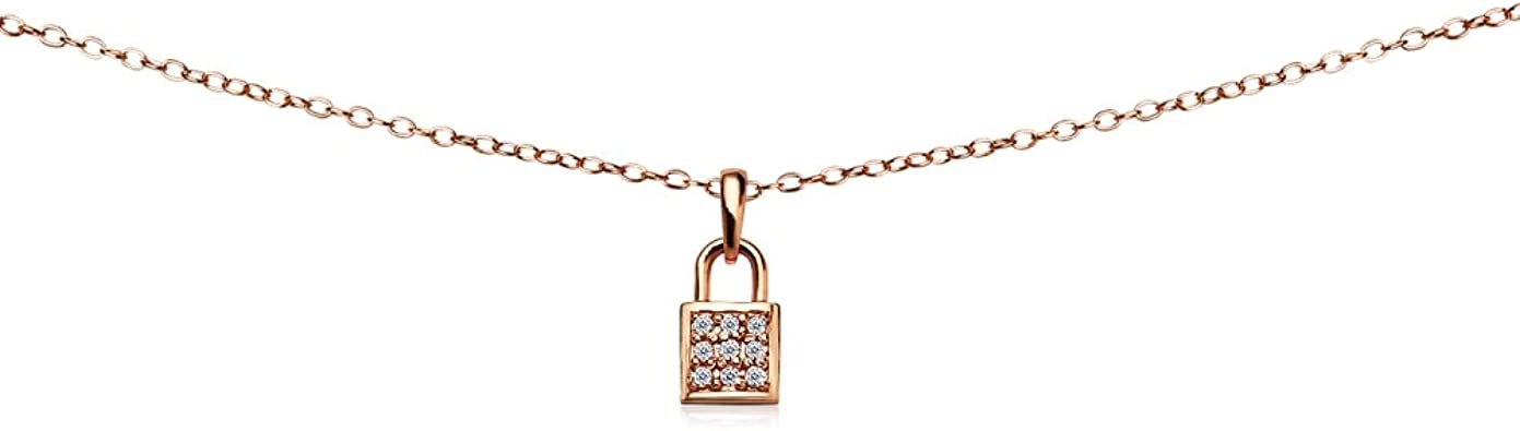 GemStar USA Rose Gold Flashed Sterling Silver Cubic Zirconia Rose Dainty Choker Necklace