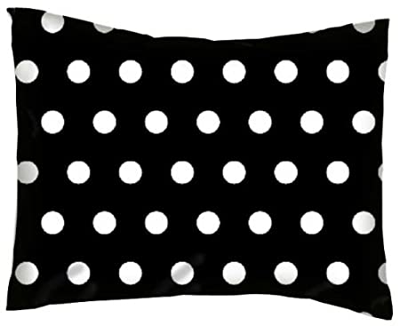 SheetWorld Percale Twin Pillow Case - Polka Dots Black - Made In USA