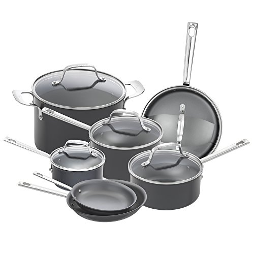 Metal Ware Collection - Emeril Lagasse 62920 Dishwasher safe Nonstick Hard Anodized 12 Piece Cookware Set ,Gray