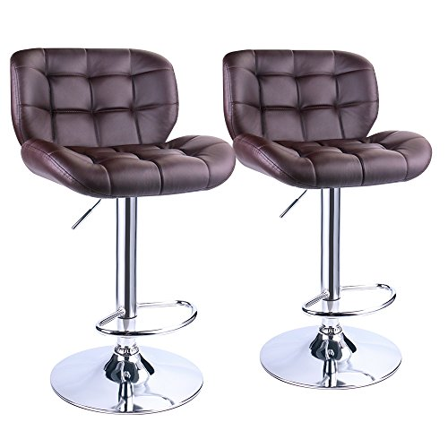 Leopard Outdoor Deluxe Pitstop adjustable bar stools,set of 2, Brown - Chrome Two Seat Bar Stool