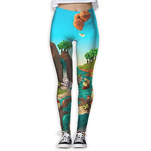 indeaxwory 3D Origami Printing Compression Leggings Pants Tights for Women -
