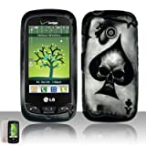 Black Ace Spade Skull Poker Card Design Rubberized Snap on Hard Shell Cover Protector Faceplate Skin Case for Verizon LG Cosmos Touch VN270 + LCD Screen Guard Film (Free Wristband)