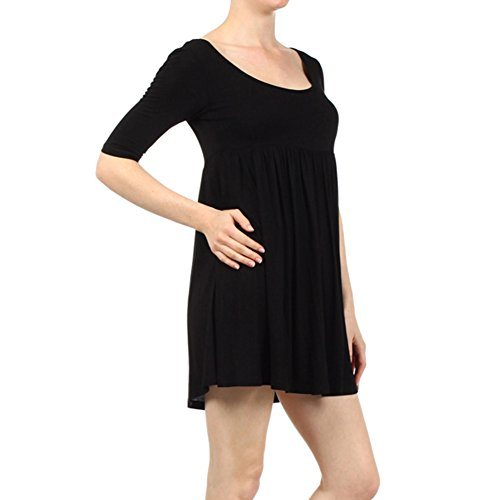 Plus Size Women s Solid 3 4 Baby Doll Dress Lightweight