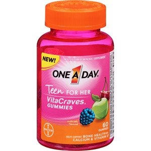 One-A-Day Vitacrave Teen Gumie for Her Multivitamin 60-Co...