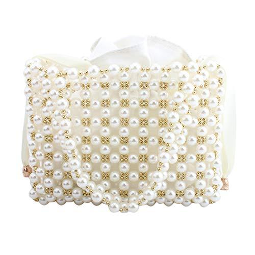 Womens Beaded Handbags Handmade Evening Bag Pearl Bag Handbag fit Wedding Party Beautiful Luxury Purses (WHITE)
