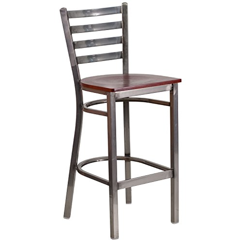 Flash Furniture HERCULES Series Clear Coated Ladder Back Metal Restaurant Barstool - Mahogany Wood Seat