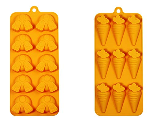 Carrots & Bunny Butts Bundle of 2 Silicone Candy Crafting Baking Mold Tray's