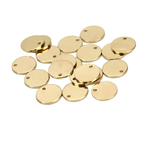 WSSROGY 20 Pack Gold Plated Coin Disc Charm Round Stamping Blank Tag - Metal Jewelry Making Supply Blank Initial Charm DIY 5