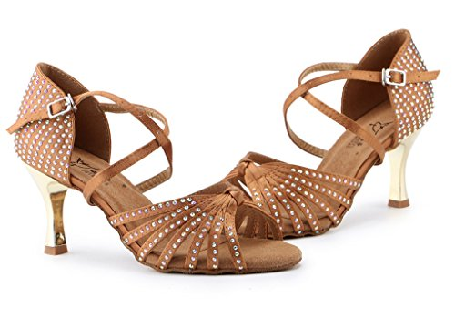 Shoes High B 5 Shoes Womens Evening Fix Latin Hot Wedding Doris Ballrom Sandals Heel M US Satin Rhinestone Dance Brown PqTSqwx4O