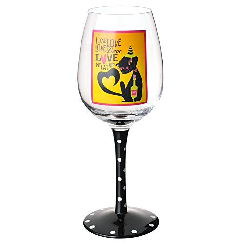 Black Cat Halloween I Love Love Love Catnip Wine Glass -