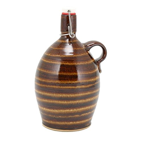 Ceramic Growler - 32 oz Hand-made Stoneware Beer Growler for Craft Beer Lovers and Home Brewers with Glaze trailing and Nut Brown Glaze