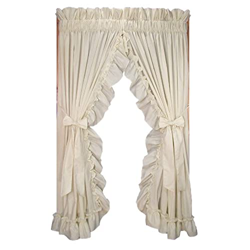 Stephanie Country Style Ruffle Priscilla Curtains Pair 86 Inch By 84 Inch    1 1/2 Inch Rod Pocket, Natural