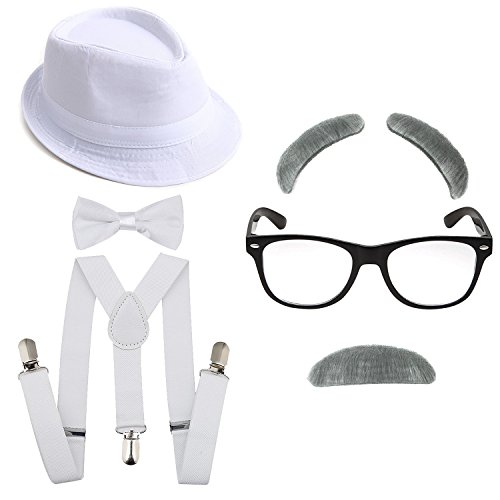 1920's Boys Gangster Costume Set - Short Brim Fedora Hat,Adjustable Suspenders with Pre-Tied Bow Tie, Old Man Eyebrows & Moustache,Nerd Fake Glasses for Kids & Child(White Hat & White Suspenders) ()