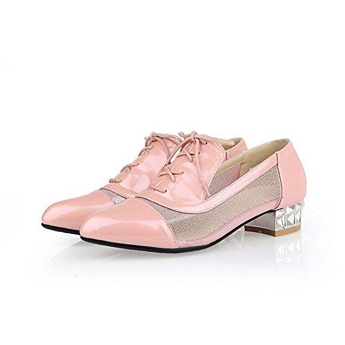 AllhqFashion Damen Spitz Zehe Schnüren Blend-Materialien Rein Niedriger Absatz Pumps Schuhe Pink