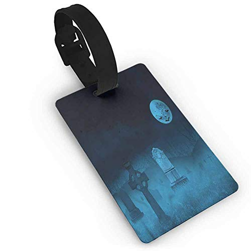 Women Luggage Tag Gothic,Ghostly Graveyard Halloween One Size Address Tags]()