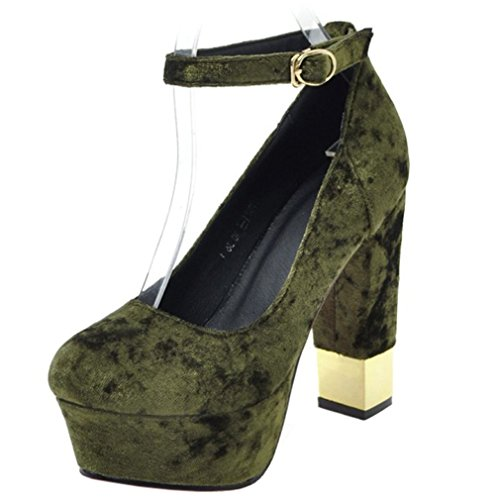 ENMAYER Mujer Pleuche Glitter PU Material Tobillo Correa Plataforma Tacones Ankel Boots Verde