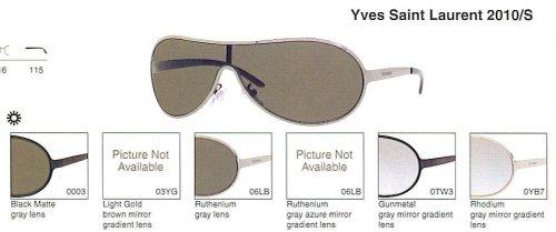 Yves Saint Laurent 2010/S Sunglasses(Color-Code=0003 - Black Matte Frame,Gray Lens,Frame - Ysl Men Sunglasses