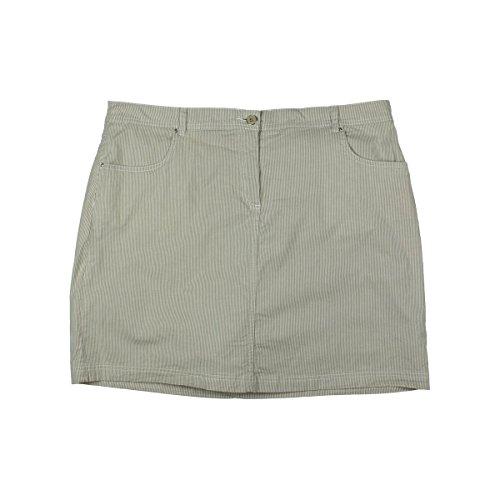 [Karen Scott Womens Pinstripe Shorts Skort Beige 16] (Pinstripe Spandex Skirt)