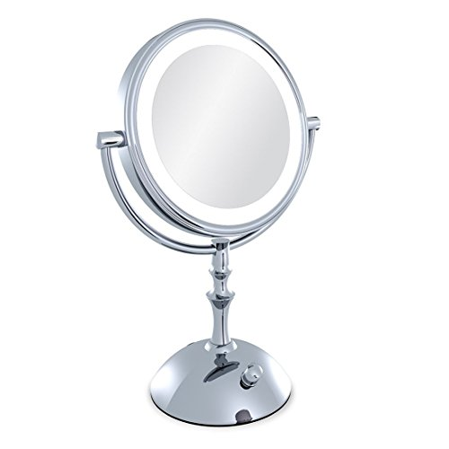 Moiom 8 Inch Double Sided 1X/10X Magnification LED Lighted Makeup Mirror,Brightness Adjustable,Polished Chrome Finish,With USB line